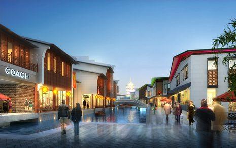 商业街效果图;; 中式商业街效果图